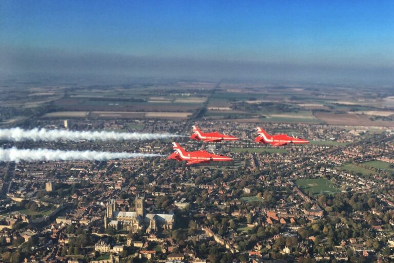 RAF Red Arrows flying over Lincolnshire