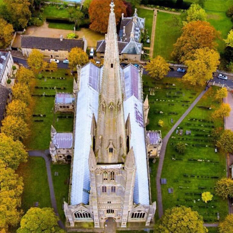 St Wulfram's Aerial View from West